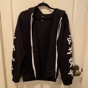 Forever 21 men's zip up sleeve printed sweater